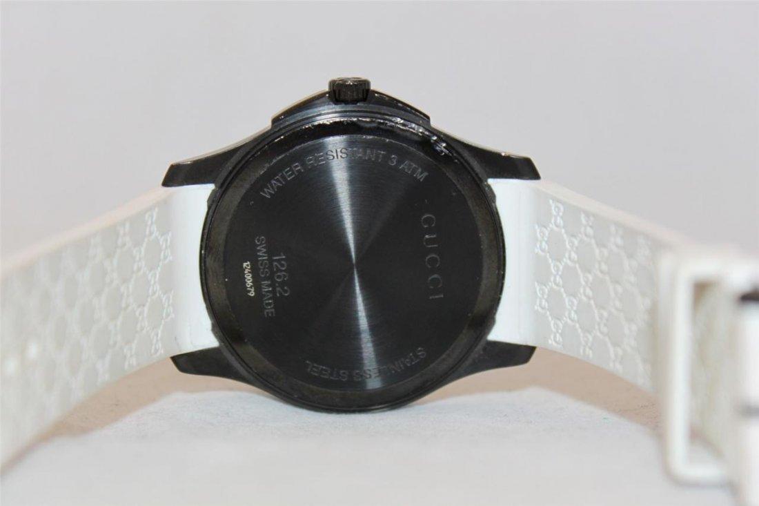 Gucci 126.2 Black PVD White Rubber Band Men's Watch - 8