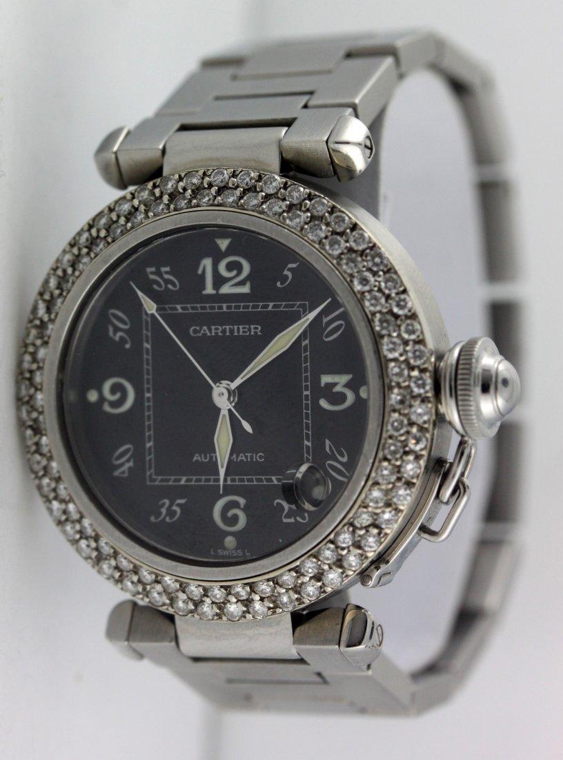 Cartier Pasha 2324 Diamond Bezel Black Face 1.8 Ct