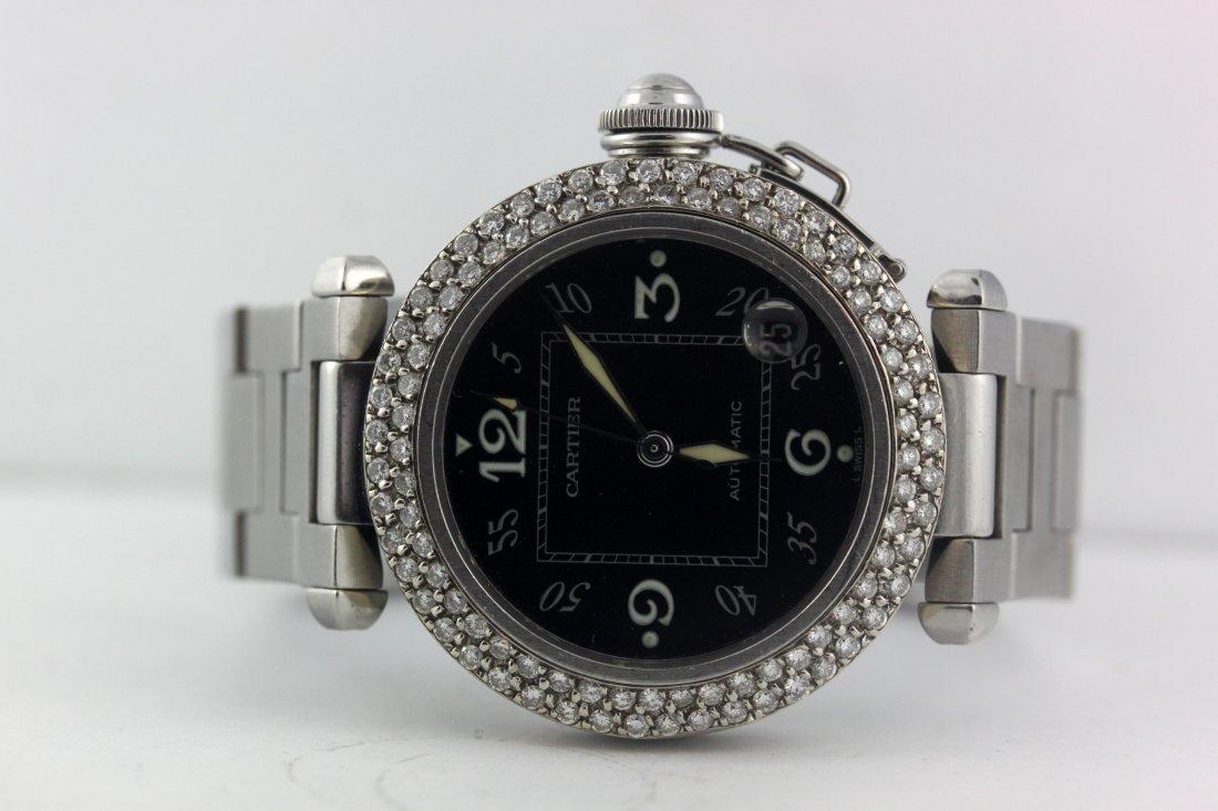 Cartier Pasha 2324 Diamond Bezel Black Face 1.8 Ct - 2