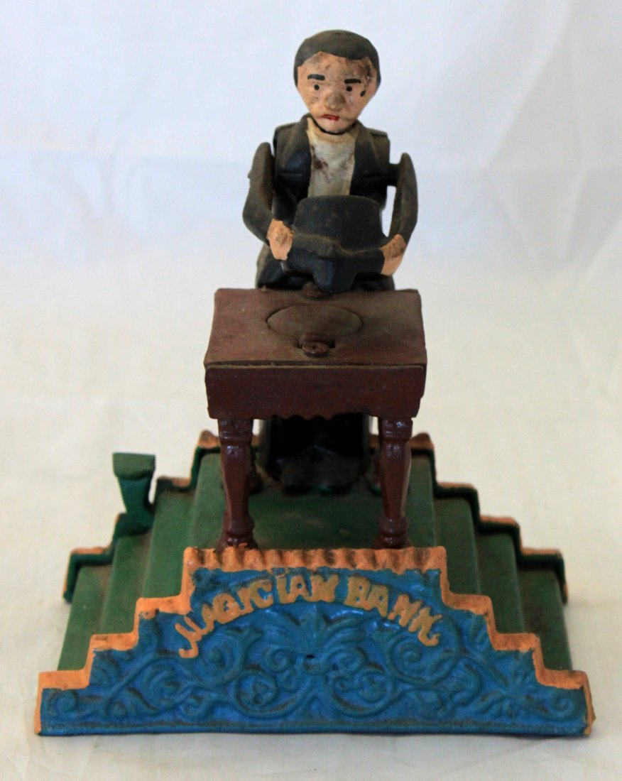 Cast Iron Mechanical Bank Magician Reproduction