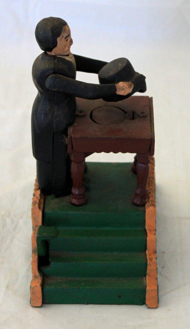 Cast Iron Mechanical Bank Magician Reproduction - 2