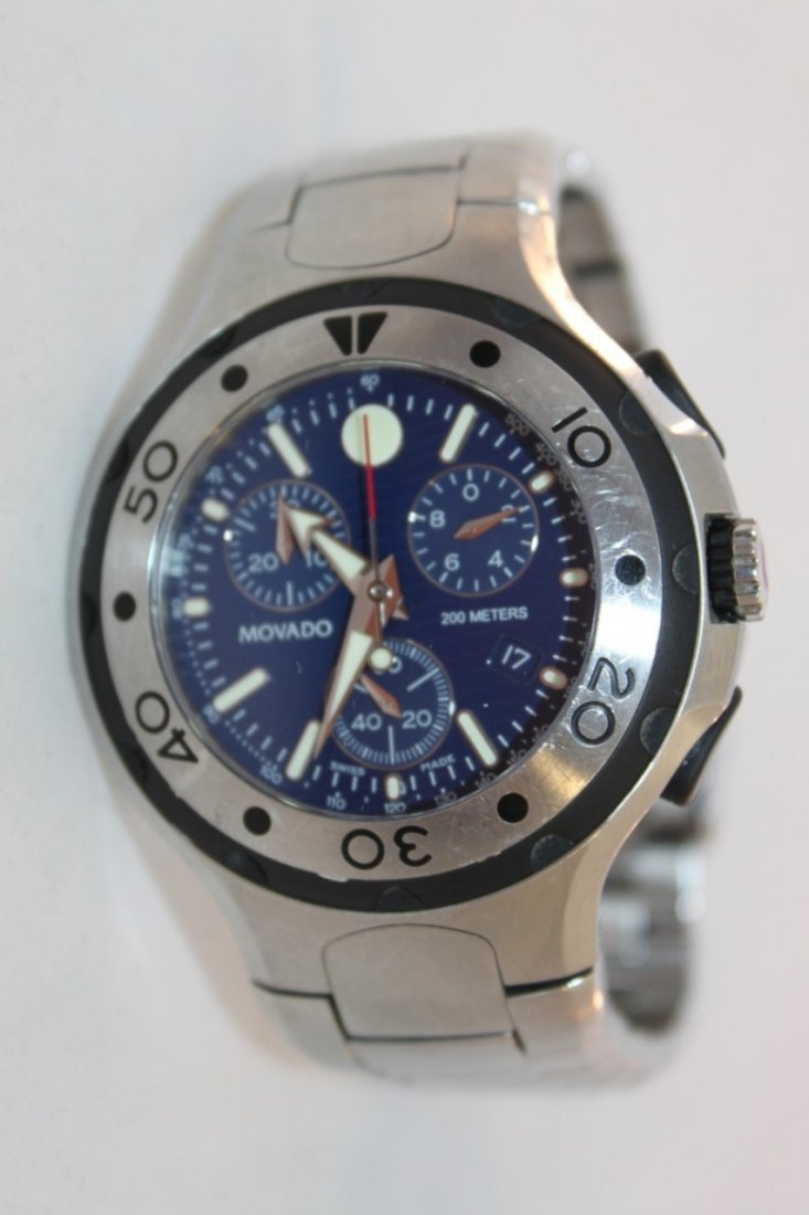 Used Movado Watch Sport 800 84 c5 1896 Blue Chronograph