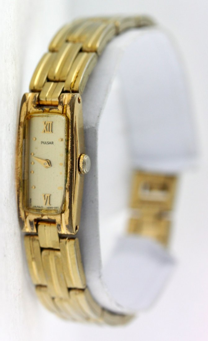 Pulsar Gold Tone Rectangle Dial Stainless Steel Ladies