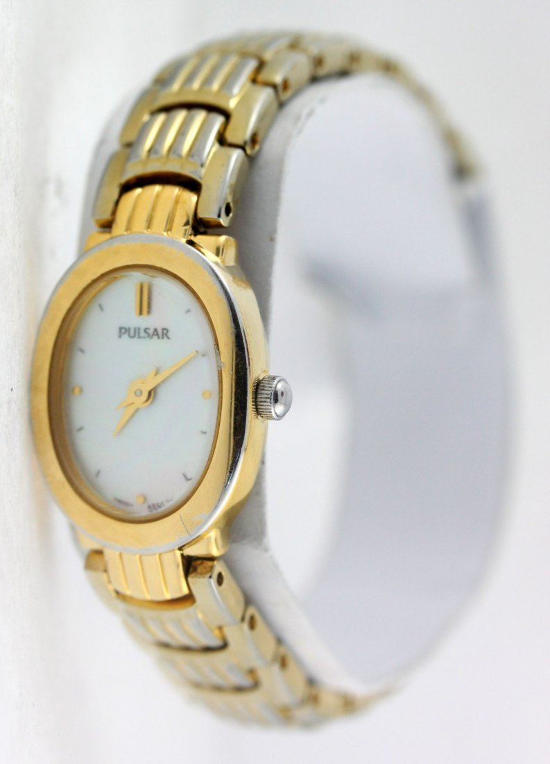 Pulsar Gold Tone Oval Dial Stainless Steel Ladies Watch