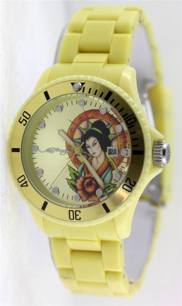 Ed Hardy VIP Geisha Light Yellow Dial Women's Watch