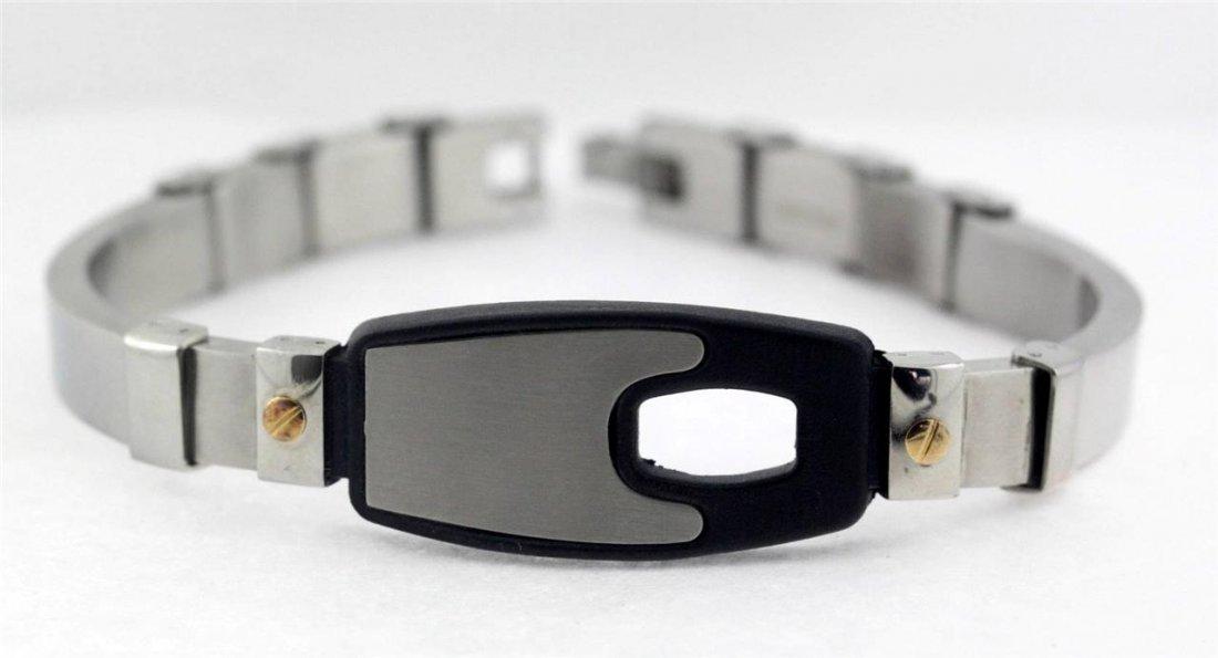 """Men's Stainless Steel Bracelet 7"""" Diameter Black Center"""