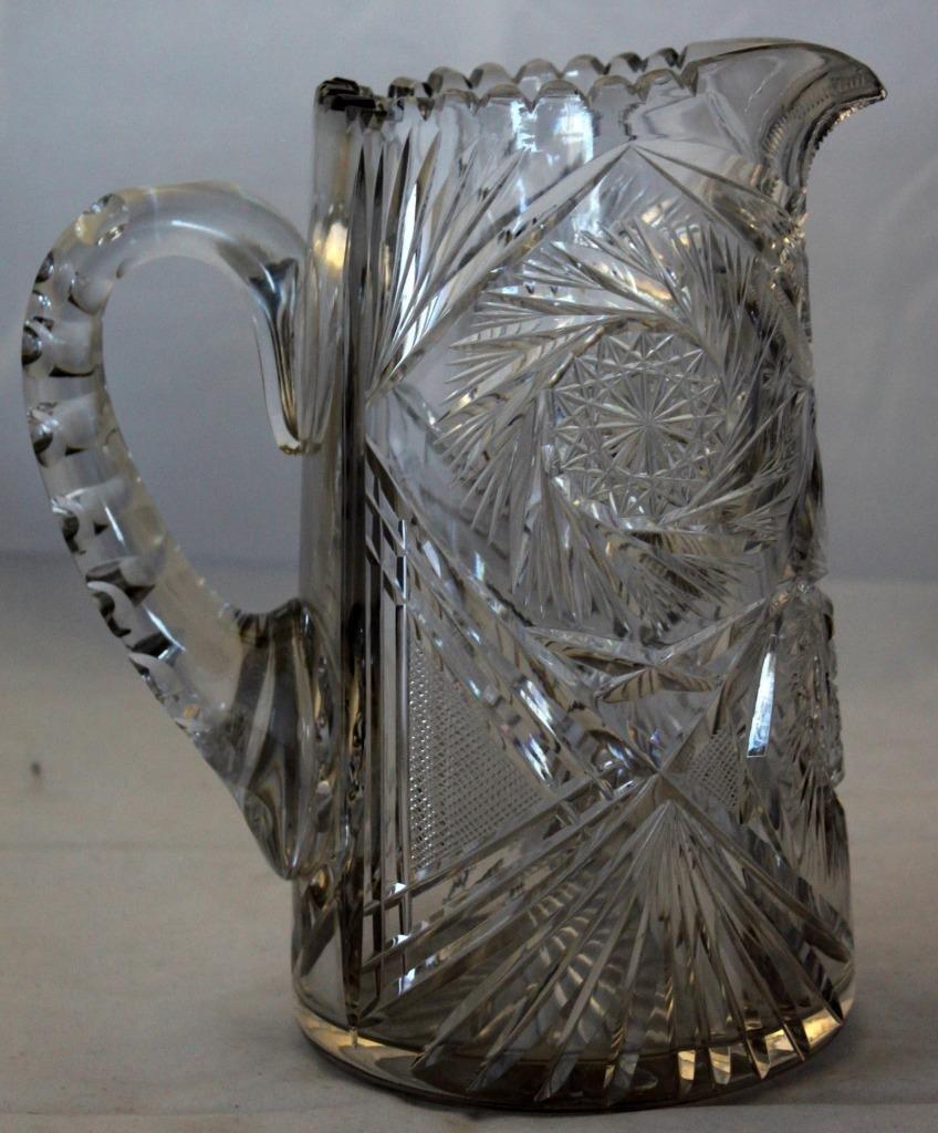 Lead Crystal Lemonade Ice Tea Pitcher Spiral Cut Free