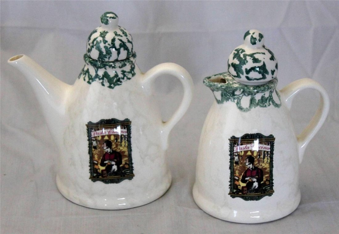 Vintage Pair Portugese Pottery Pasta Cucina Pitcher and