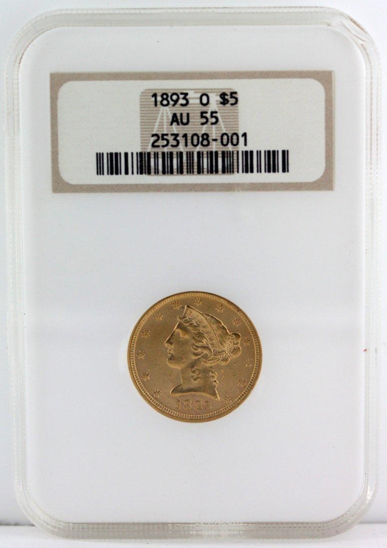 1893 Liberty Head 1/2 Eagle $5 O Dollar Gold Coin
