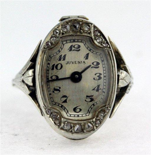 Rare Juvenia 18kt White Gold Ring Watch