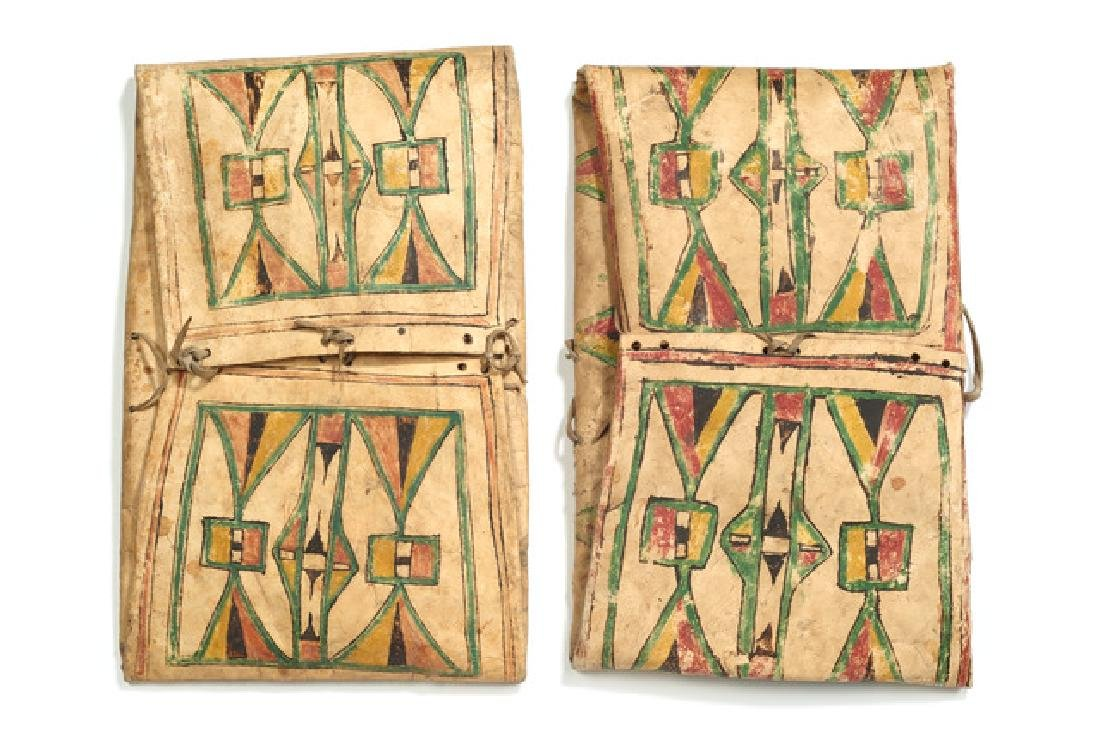 """Pair of folded bags """"parflèche"""" - North America,"""