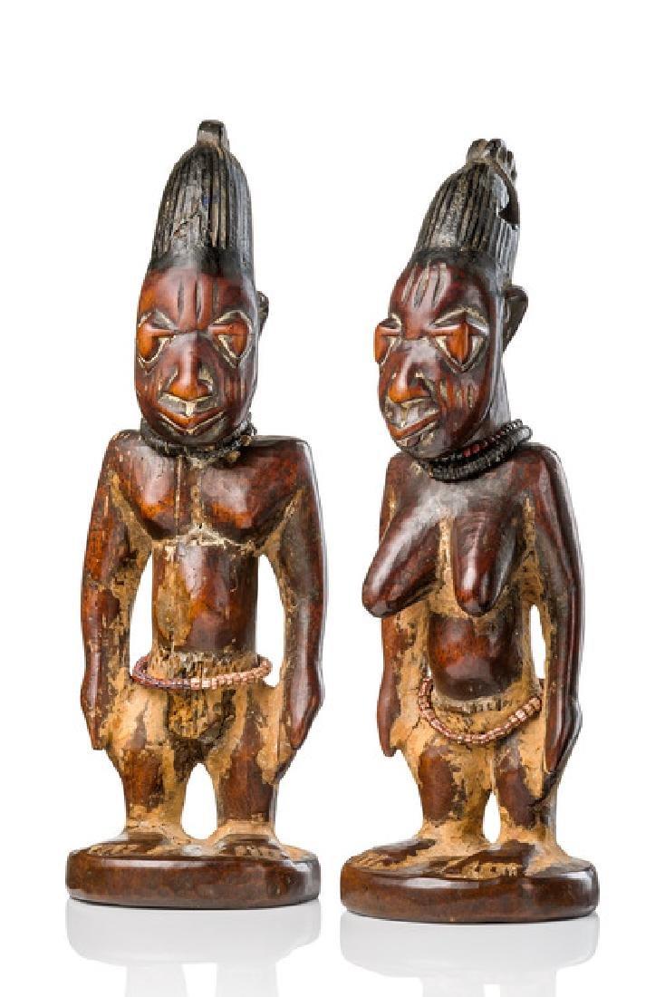 """Male/female pair of twin figures """"ere ibeji"""" - Nigeria,"""