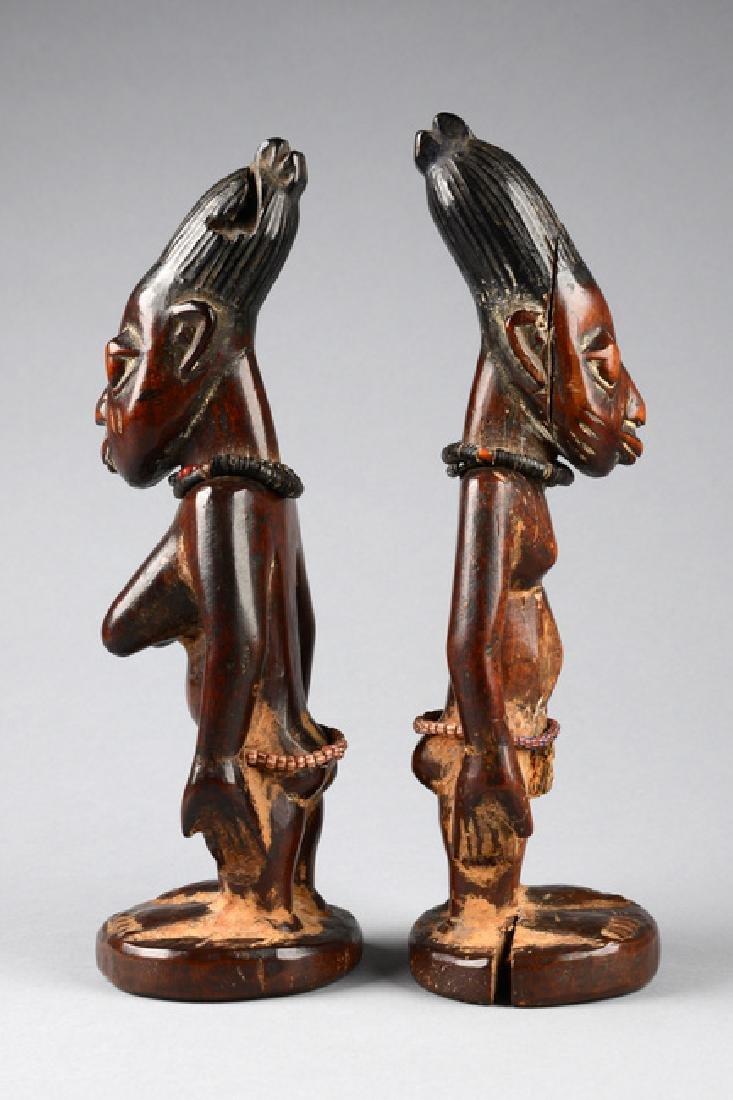 """Male/female pair of twin figures """"ere ibeji"""" - Nigeria, - 4"""
