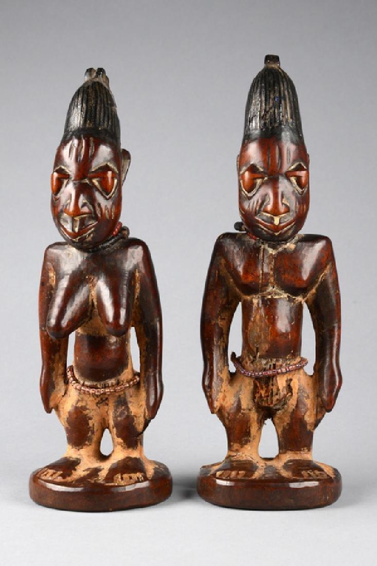 """Male/female pair of twin figures """"ere ibeji"""" - Nigeria, - 5"""