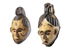 """Two female masks """"ngwo"""" - Nigeria, Igbo"""