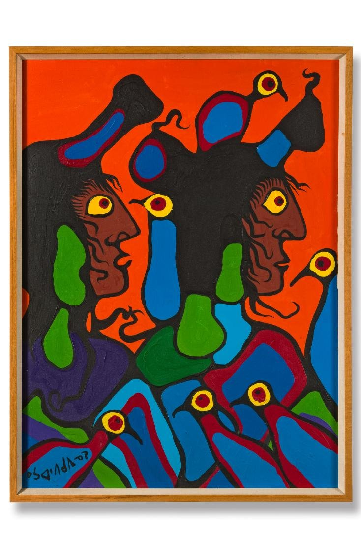 Untitled (Portraits with birds) - Morrisseau, Norval