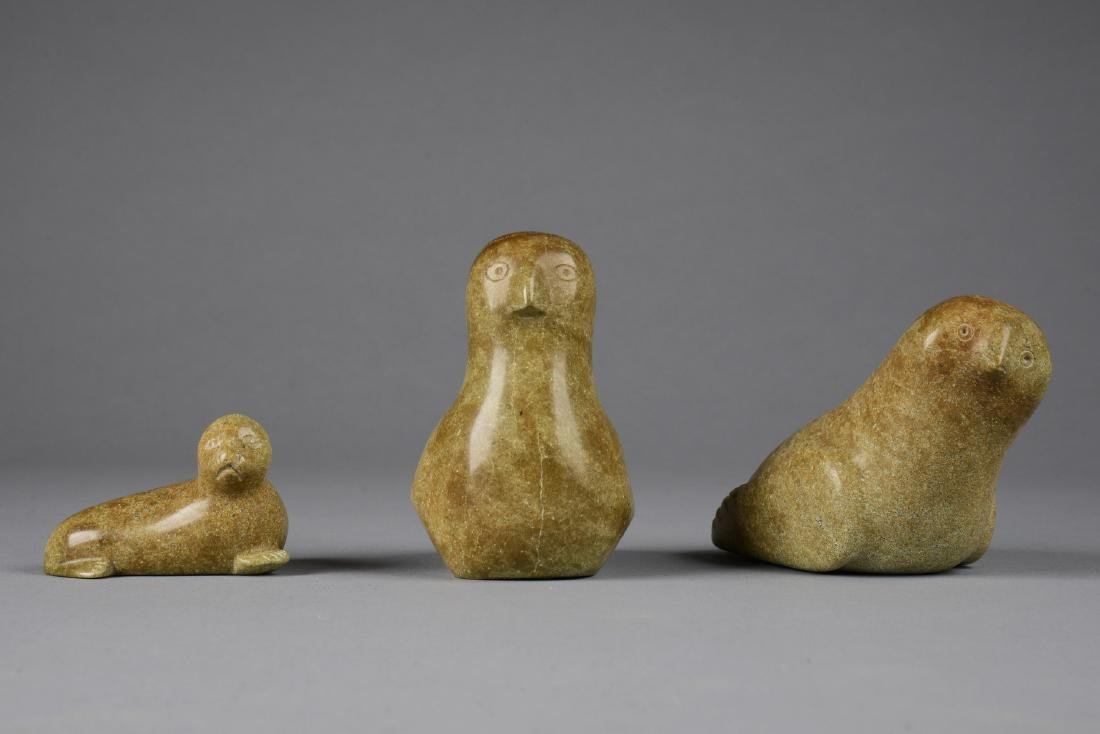 Three stone sculptures (two birds/ seal) - Unknown