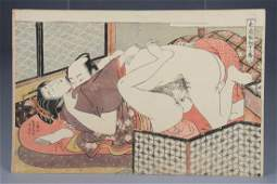 Two erotic scenes shunga  Koryusai Isoda active