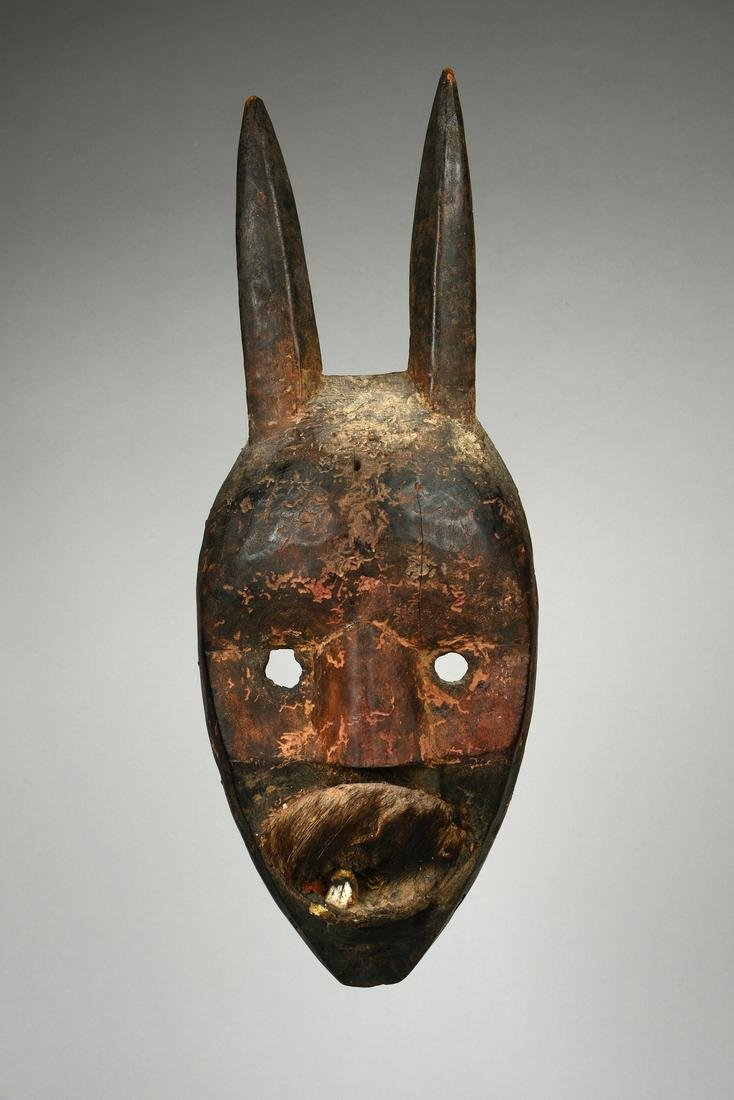 Anthropo-/zoomorphic mask with horns - Côte d'Ivoire,