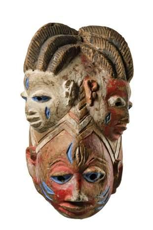 "Three face helmet mask ""gelede - Nigeria, Yoruba"