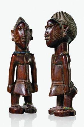"Pair Of Male Twin Figures ""ere Ibeji"" - Nigeria,"