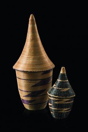 "Two Small Baskets With Lids ""agaseki - Ruanda, Tutsi"