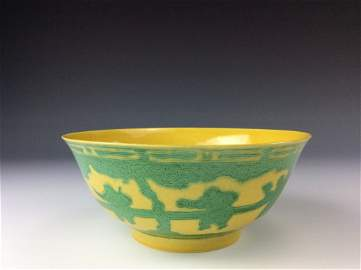 Rare Chiese yellow ground, green glazed dcorated,