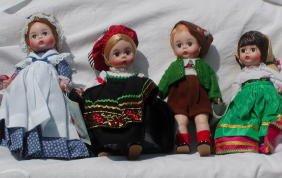 "9: 4 Madame Alexander 8"" Dolls,Italy,Betsy Ross,Austria"