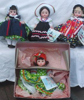 "10: 4 Madame Alexander 8"" Dolls-Germany, Mexico, Canada"