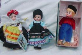 "11: 3 Madame Alexander 8"" Dolls,Rumania, Greece, Dutch"
