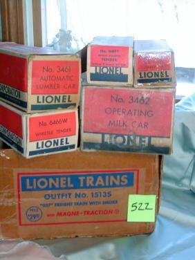 522: Five Lionel Boxes, Milk Car, Lumber Car,Tenders