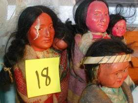 Lot of 3 Skookum Indian Dolls, Two with Papooses