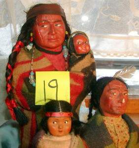 Lot of 3 Skookum Indian Dolls, One with Papoose