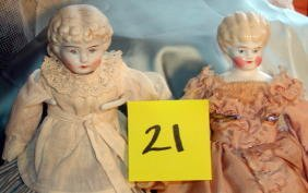 21: Two Blonde China Head Dolls