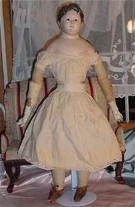 """76: 25"""" Victorian Papier Mache Head Doll, Molded Hair"""