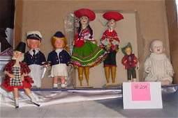 204: Lot of Dolls, Key Wound, All Bisque, Peru Pr