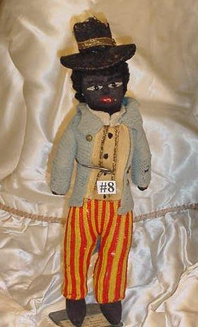 "8: 10"" Early Black Stockinette Doll"