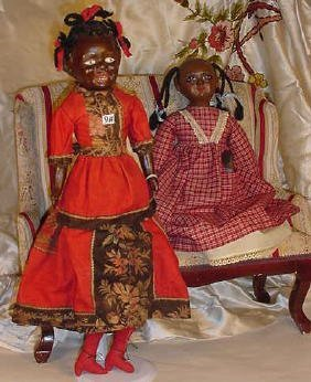 "9: 18"" Black Doll in Red Dress; 16"" Black Girl"