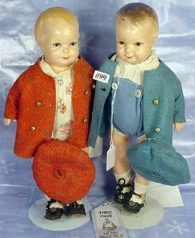 """99: Pair 14"""" Grace Corry Rockwell Dolls"""