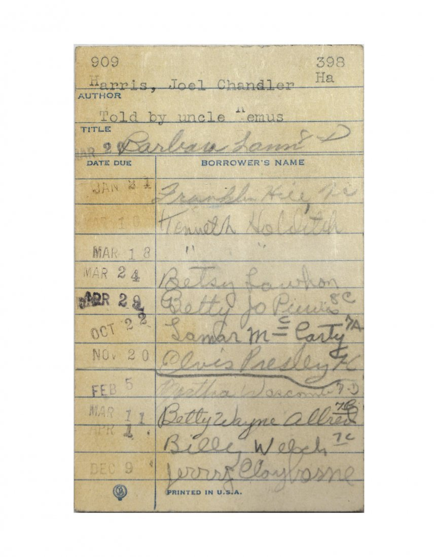 Early Elvis Presley Signature on a Library Card