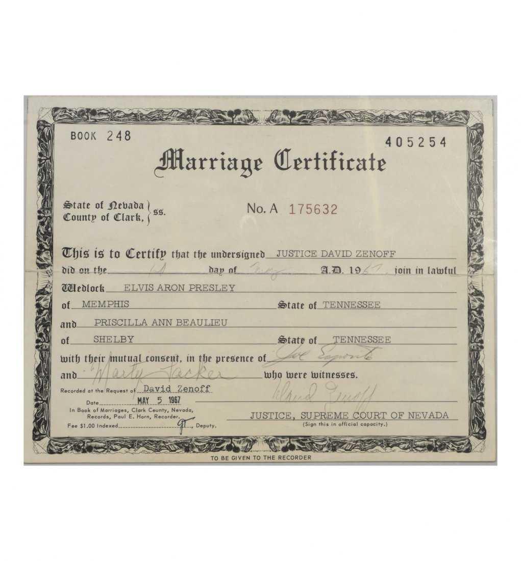 Elvis And Priscilla Presleys Marriage Certificate