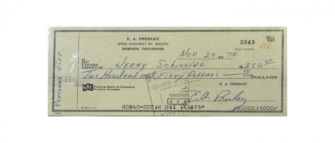 E.A. Presley Signed Check Written to Jerry Schilling
