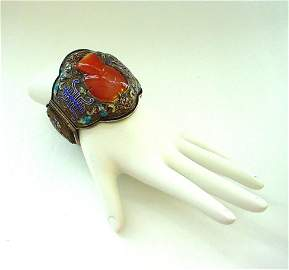 Chinese Silver and Hardstone Large Cuff Bracelet