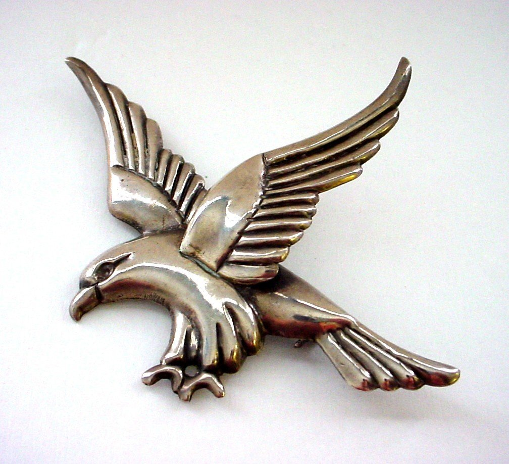 Huge Early Mexico Sterling Silver Eagle or Hawk