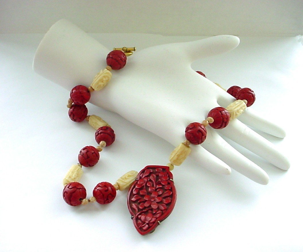 Cinnabar Necklace Chinese Pendant