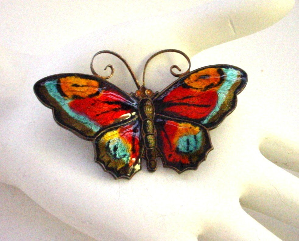 David Andersen Sterling Multicolor Enamel Butterfly Pin