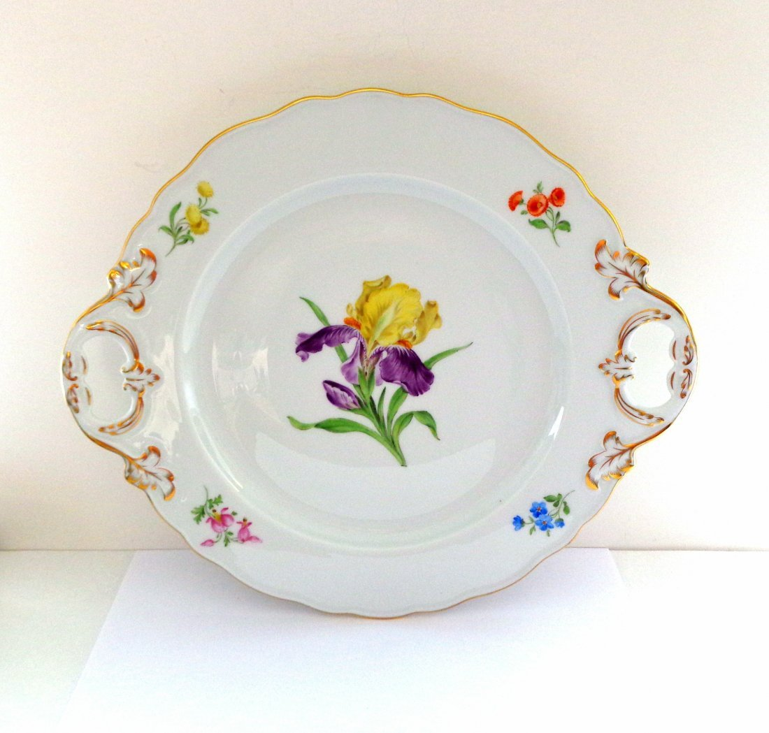 Meissen Serving Platter with  Hand Painted Iris