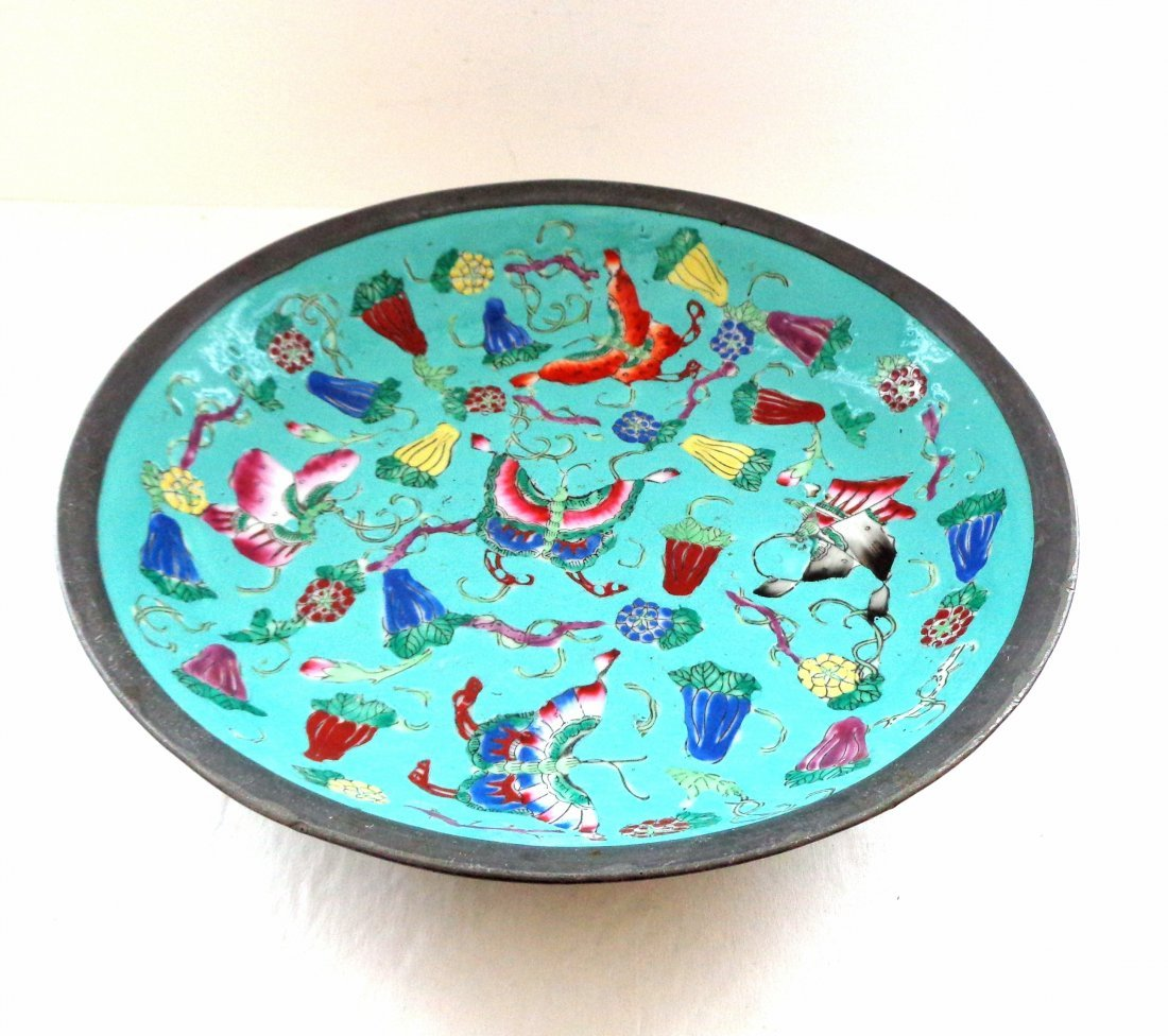 Large Chinese Bowl Heavy Metal and Enamel Paint