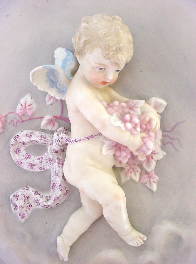 Large 3-Dimensional Porcelain Boy Cherub Angel Plaque