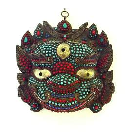Large Coral and Turquoise Buddhist Mask